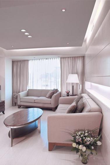 裸色系现代简约风 客厅布艺沙发欣赏