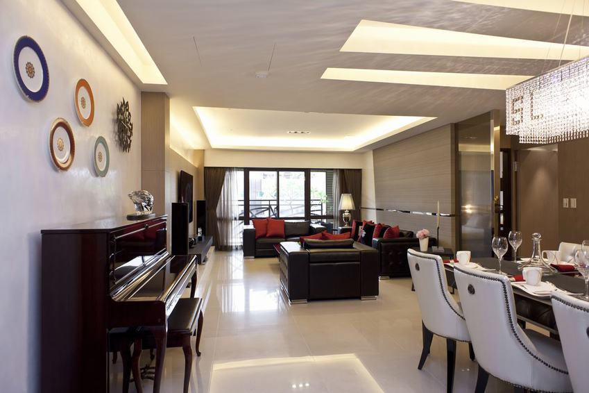 现代家装客餐厅灯带设计