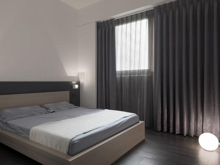 灰色系宜家风卧室窗帘效果图