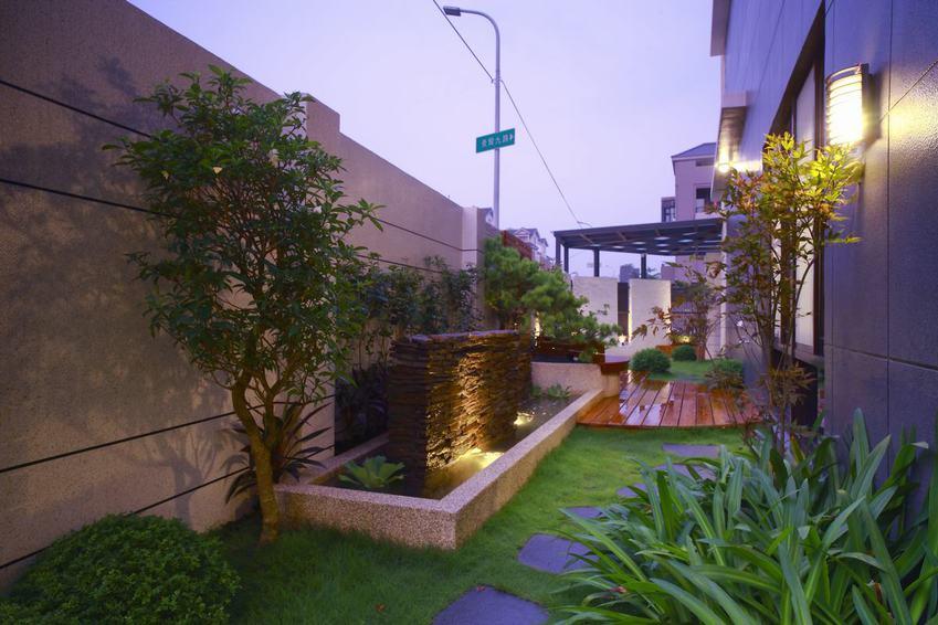 现代中式混搭别墅花园效果图