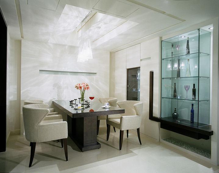 时尚简约餐厅玻璃酒柜设计
