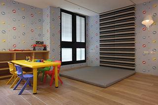 活泼现代风儿童房背景墙设计