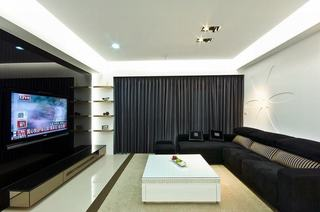 黑白简约现代客厅家装图