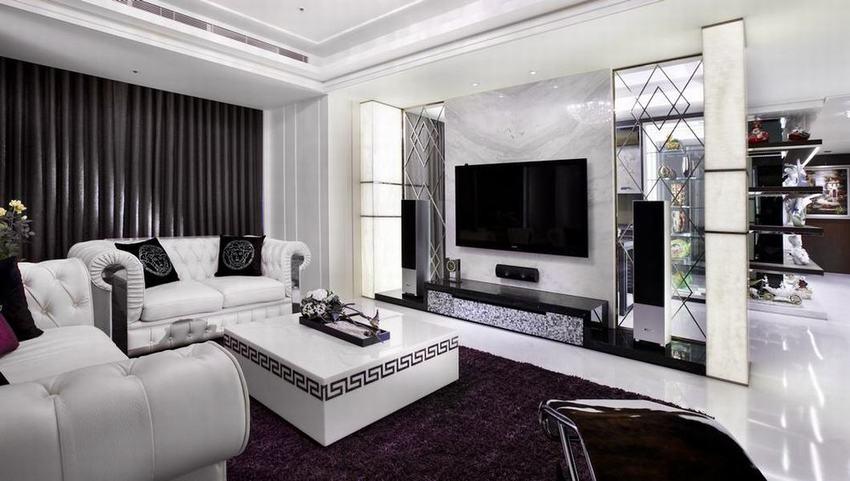 时尚豪华现代别墅客厅效果图