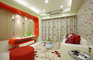 简约二居室内红色装饰图