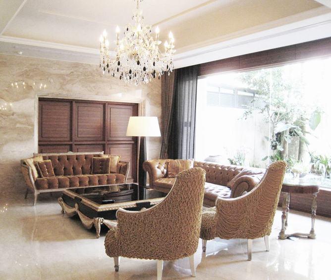 摩登复古欧式 别墅客厅效果图