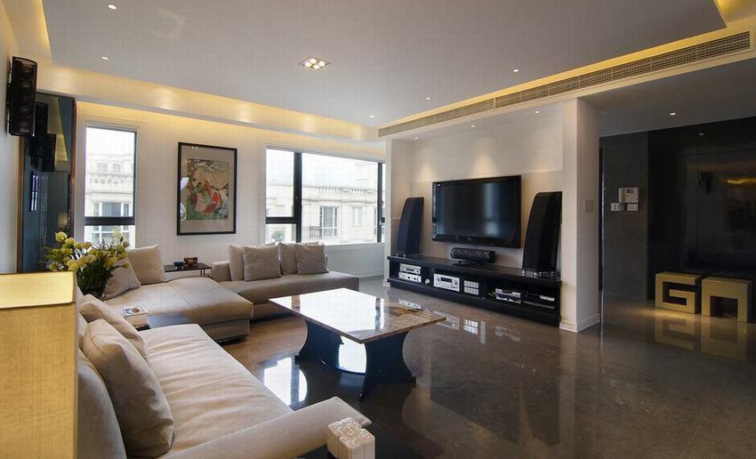 简约中式现代设计家装客厅装修效果图