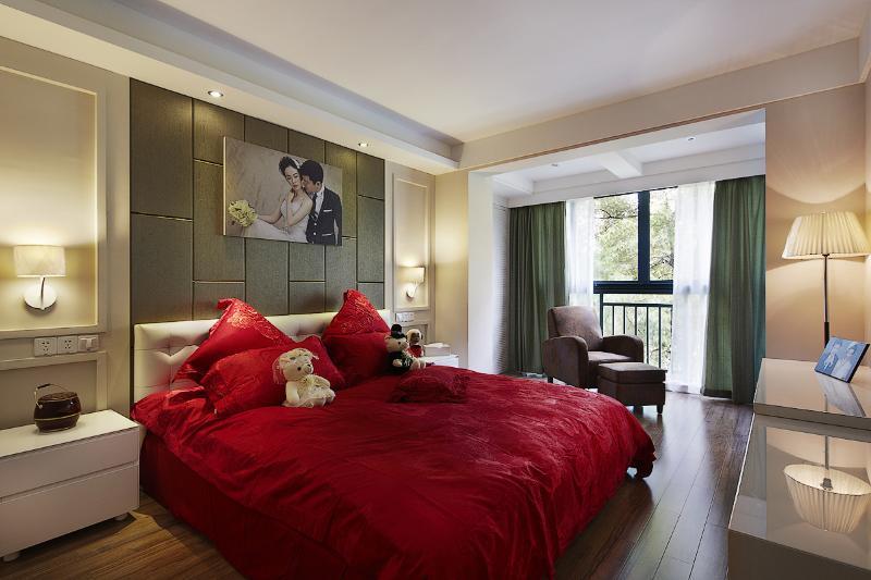 时尚墨绿色美式卧室效果图