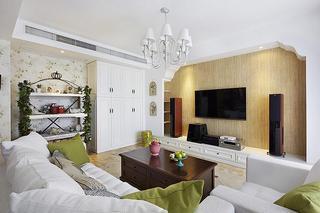 106平清新美式混搭装修 三居室效果图
