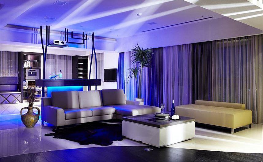 唯美现代客厅灯光效果图