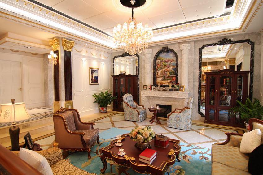 欧式新古典别墅 客厅效果图