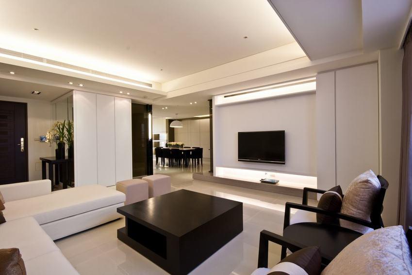 黑白时尚现代客厅石膏吊顶效果图