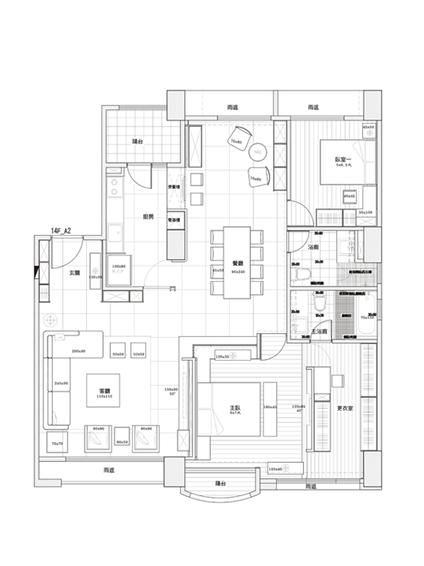经典现代设计三居室装修平面图