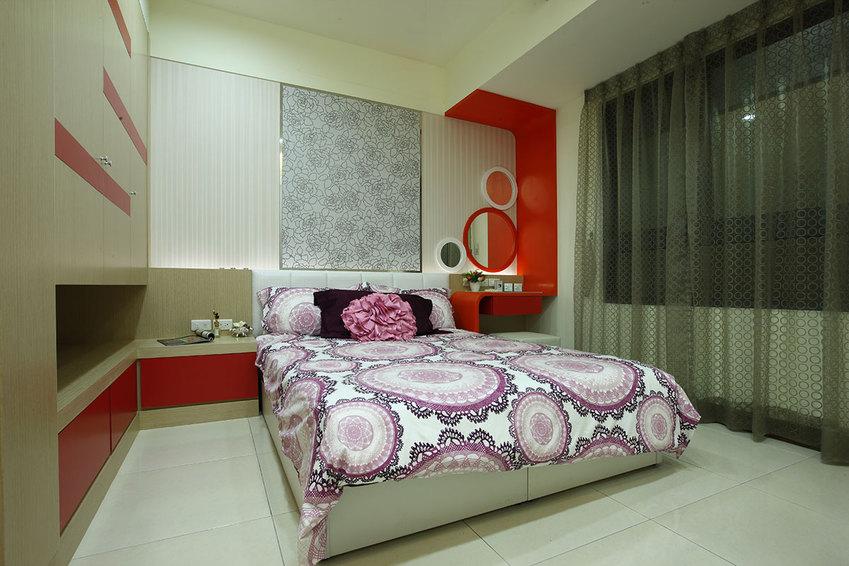 简约卧室红色家装点缀效果图