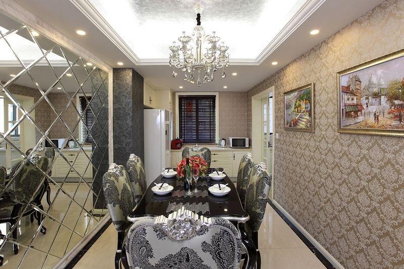 高贵典雅欧式风格餐厅设计装潢效果图