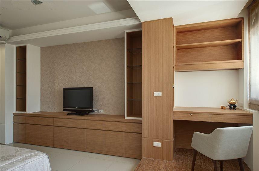 新中式家居室内实木电视柜书柜组合设计装修图