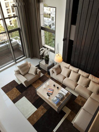 现代风复式客厅俯瞰图