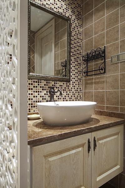 欧式家装洗手盆安装效果图