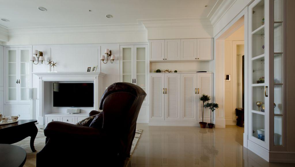 美式家居 白色鞋柜效果图