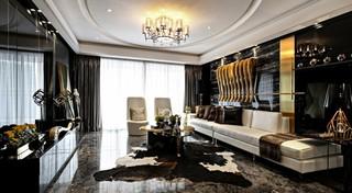 110平米魅力黑色现代三居室内装潢鉴赏图