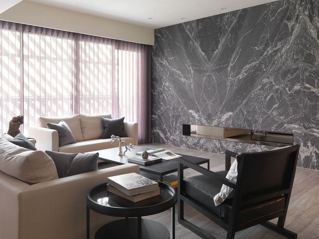 现代时尚简约设计客厅背景墙装潢效果图