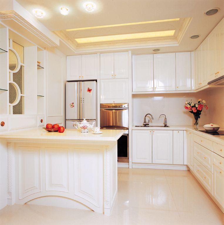 简约美式厨房吧台效果图