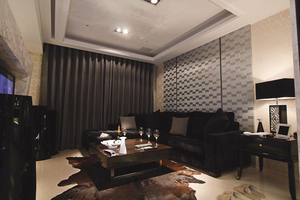 黑色时尚现代设计三室两厅室内装修图片