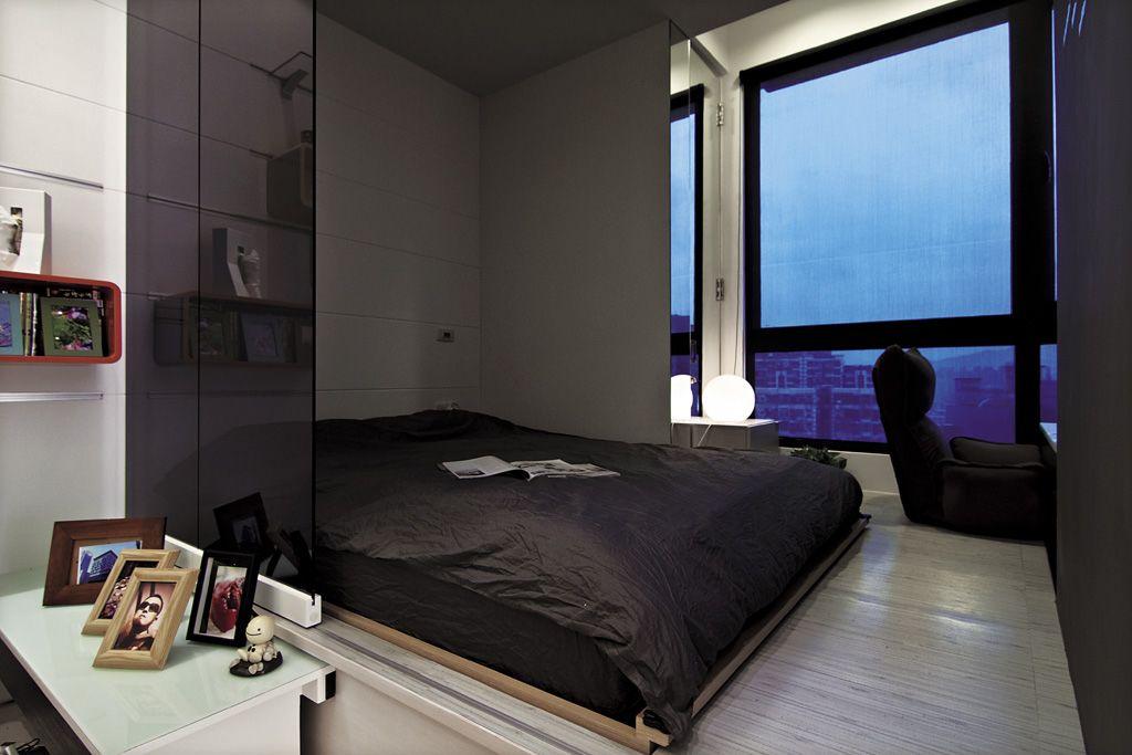 现代小户型卧室 黑色家装效果图