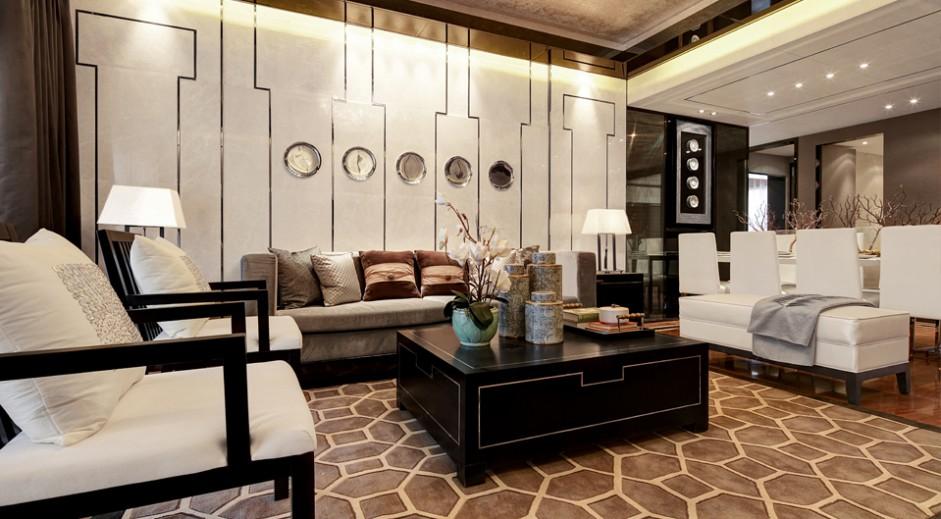 奢华典雅新中式客厅效果图