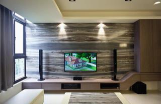 时尚日式家装 原木电视背景墙设计