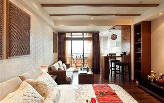 复古东南亚装修 卧室窗帘效果图