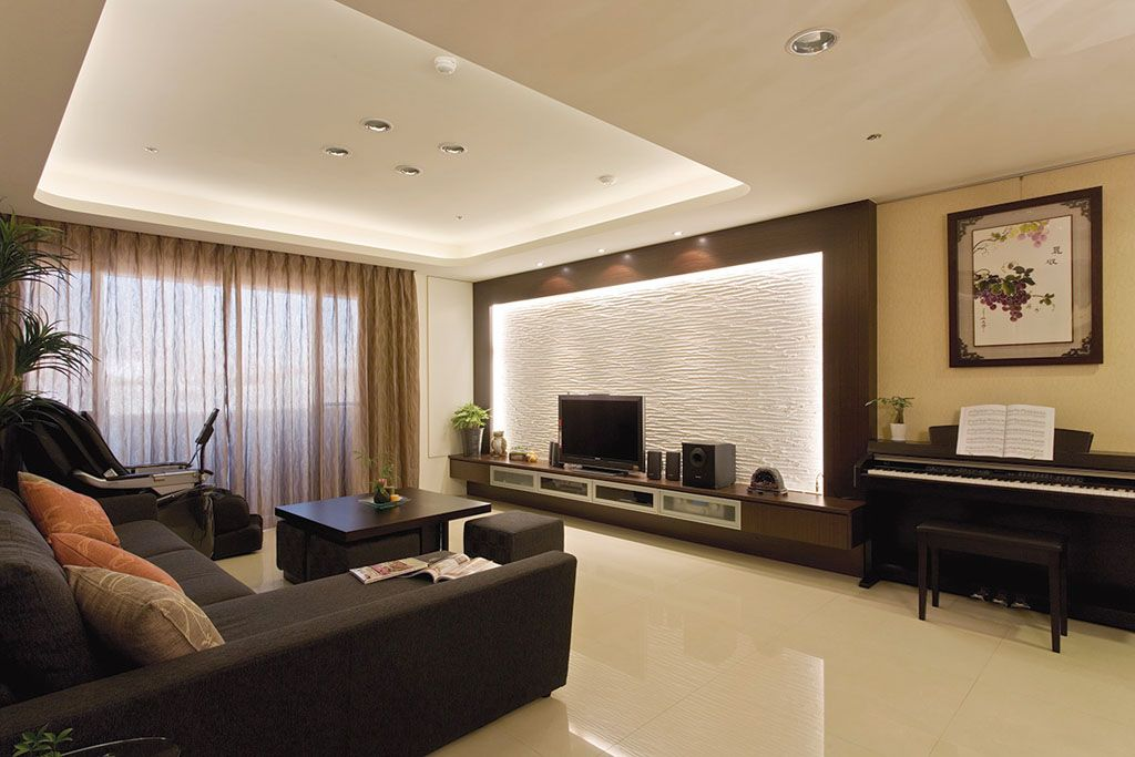 现代家居客厅石膏吊顶效果图
