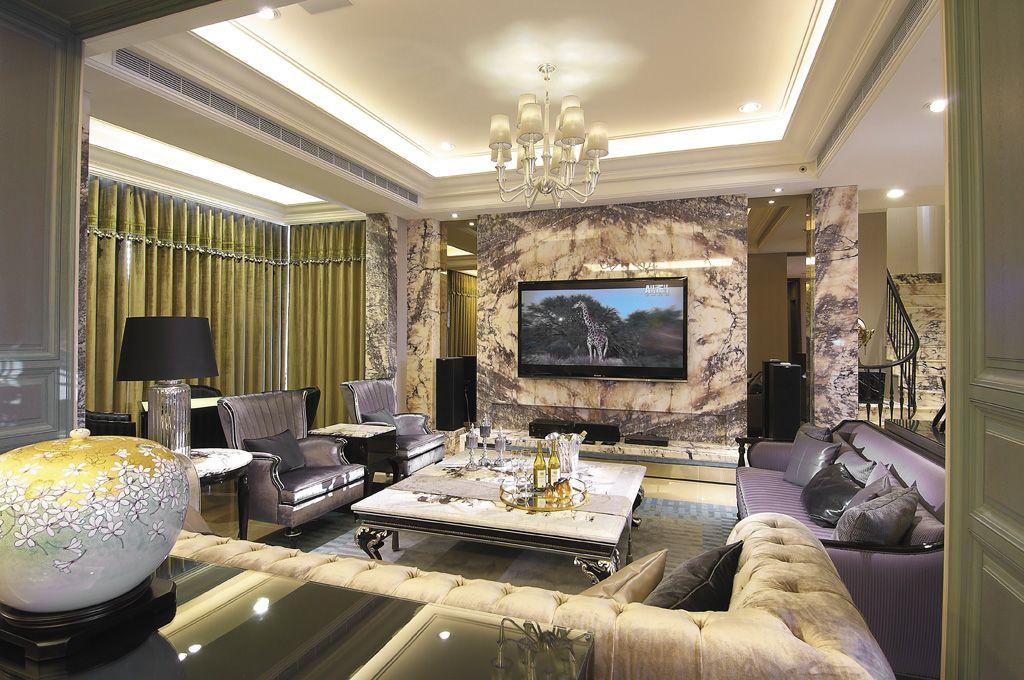 摩登欧式客厅 大理石电视背景墙设计