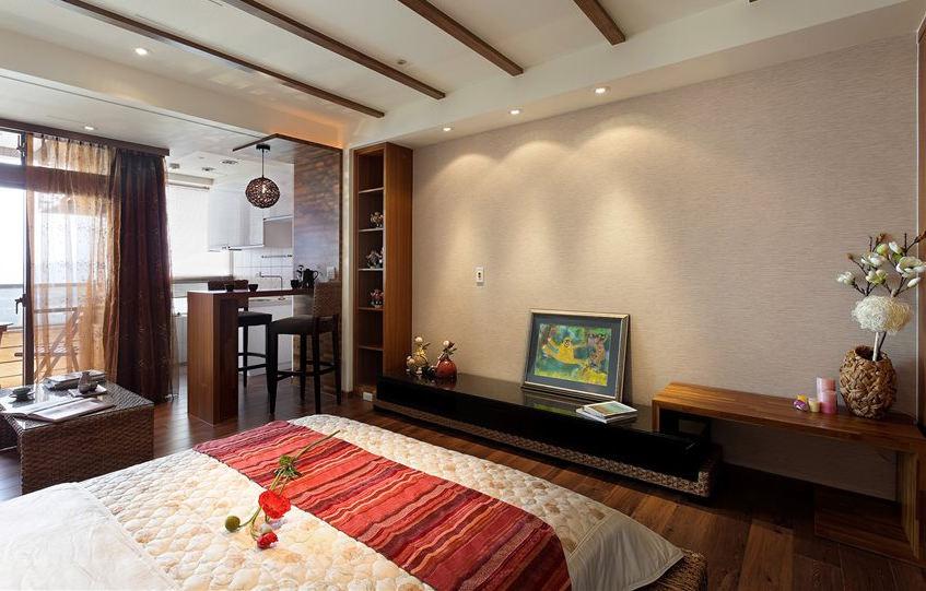 温馨东南亚卧室背景墙设计