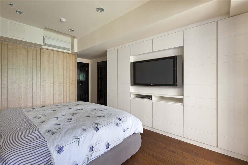 简约现代卧室白色电视柜装饰图