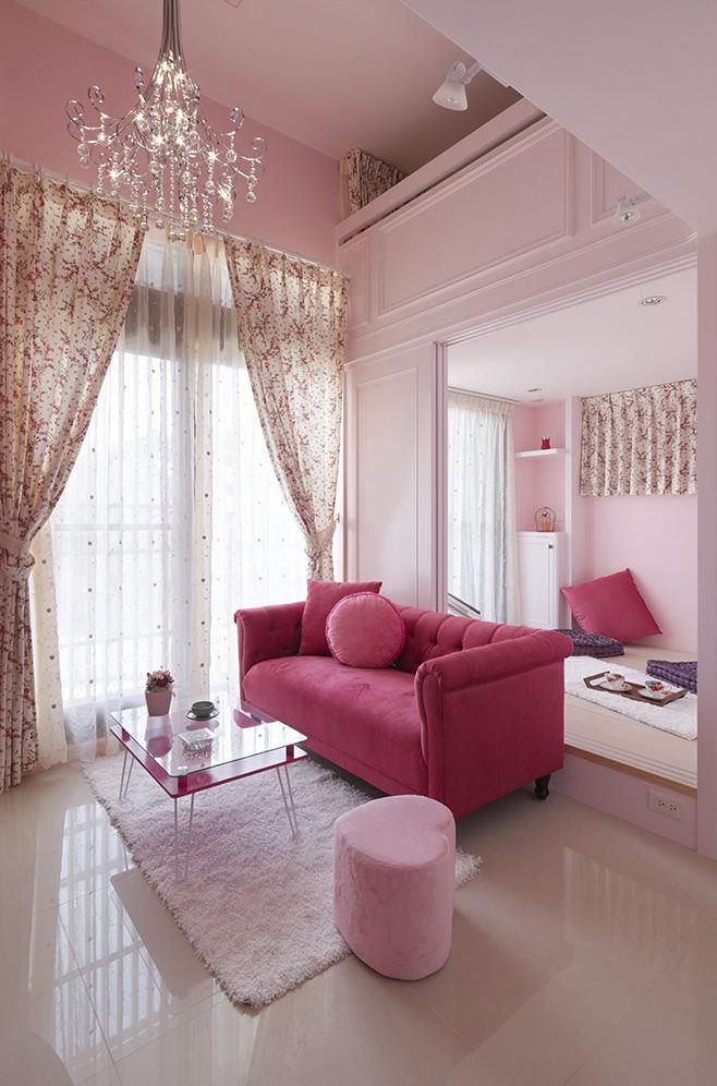 粉色宜家简约风 单身公寓效果图