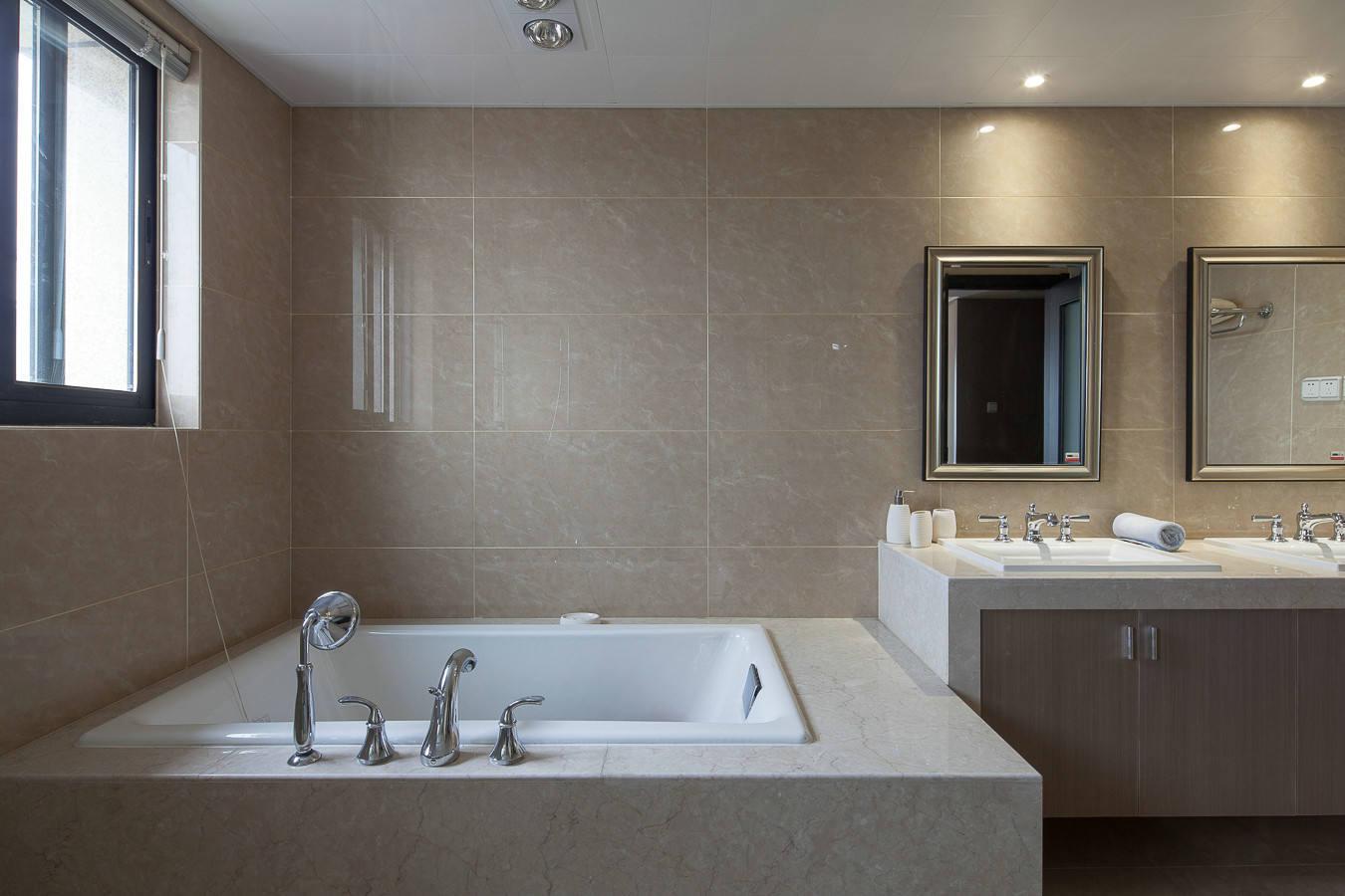 浅咖色现代简约风浴室效果图