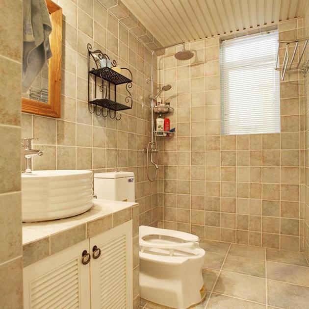 米色复古田园设计马赛克卫生间设计