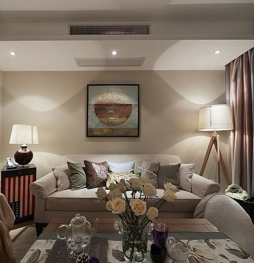 经典朴实美式客厅灯饰装潢效果图