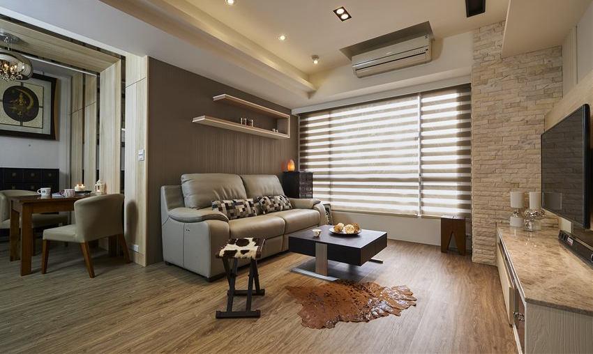 原木现代日式风格两居室装修效果图