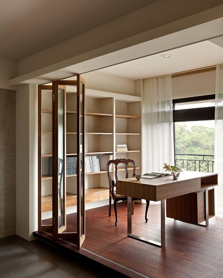 简约自然风公寓书房折叠门设计