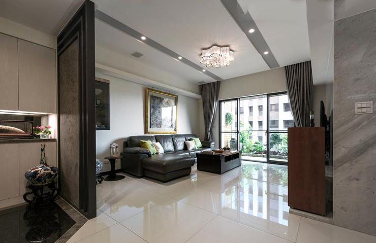 时尚沉稳后现代三室两厅设计