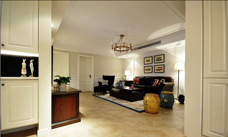 经典美式客厅隔断效果图