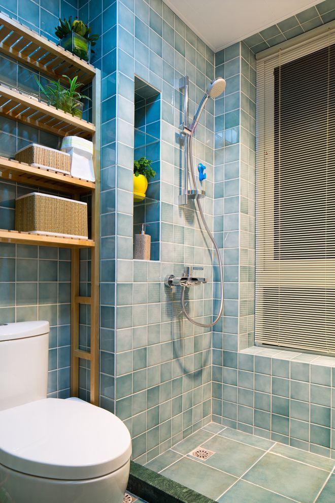 唯美蓝色现代风卫生间马赛克设计