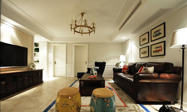复古美式客厅吊顶效果图