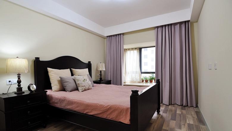简约美式卧室紫色窗帘效果图