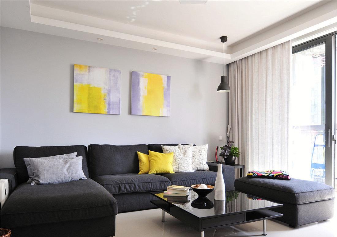 简约一居室客厅家具装饰图