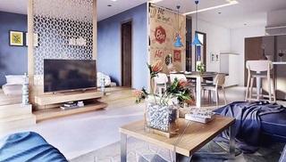蓝色时尚混搭风开放式公寓设计