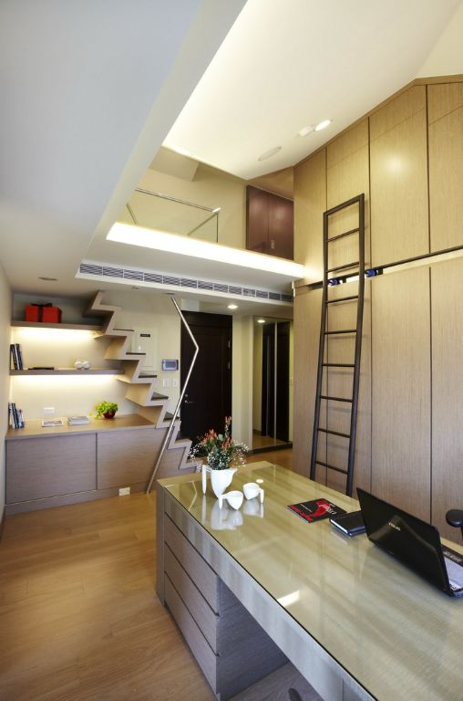 现代公寓跃层书房效果图