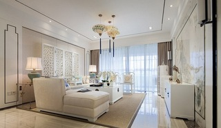 白色梦幻纯美新中式三居装潢